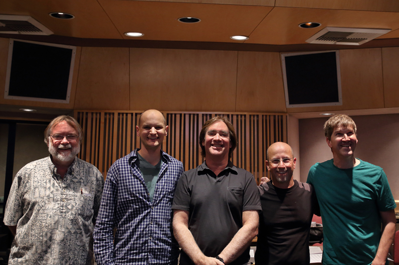 Micha Schellhaas with Carl Verheyen ChadWackerman Dave Marotta and Jim Cox recording Double Take